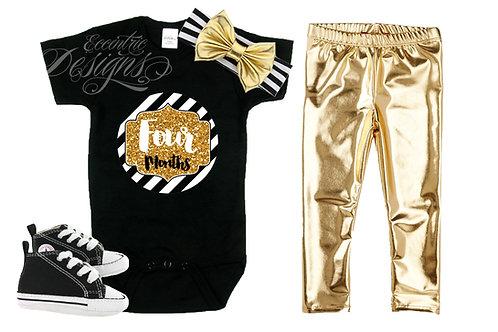 Gold Glitter - Newborn Milestone Onesie Stickers