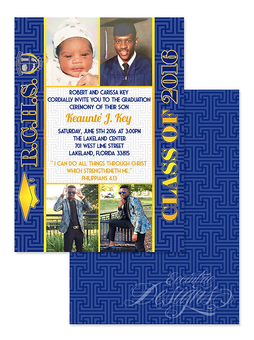 Blue and Gold - Digital Graduation Invitation