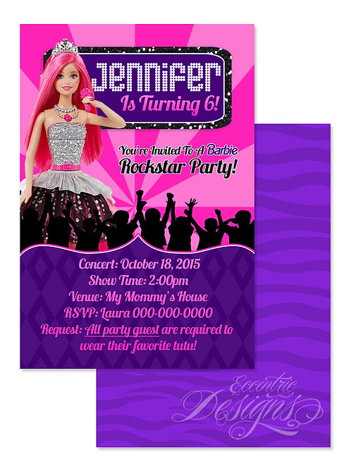 Barbie Rock'n Royals - Digital Birthday Invitation