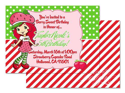 Strawberry Shortcake - Digital Birthday Invitation