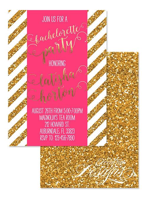 Gold Glitter - Bachelorette Party Invitation