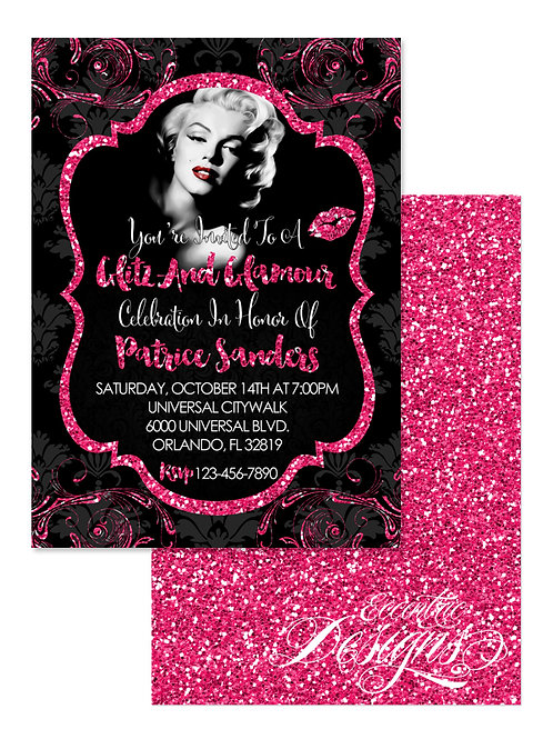 Vintage Pinup Girl - Glitz and Glamour Invitation
