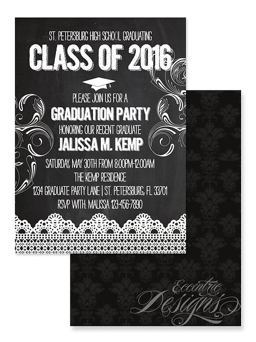 Chalkboard - Digital Graduation Invitation