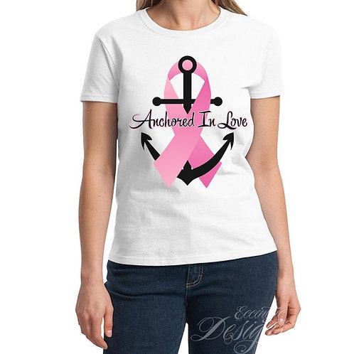 Anchored In Love Breast Cancer Iron-on Transfer