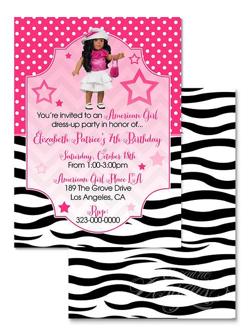 American Girl Fashionista - Birthday Invitation