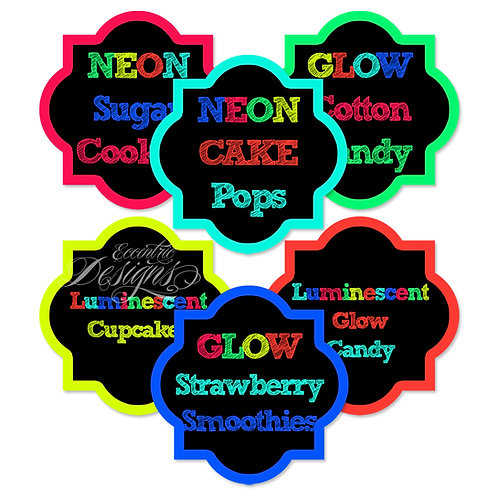 Dessert Table / Candy Buffet Labels (Neon)