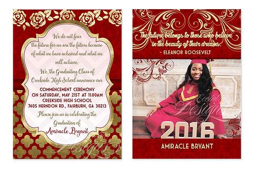 Faux Gold Foil - Digital Graduation Invitation