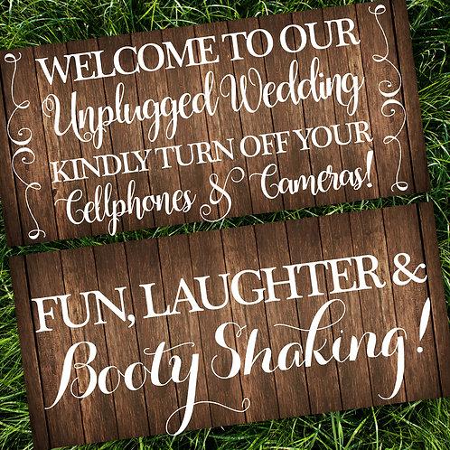 Unplugged Wedding/Fun & Laughter Wedding Signs