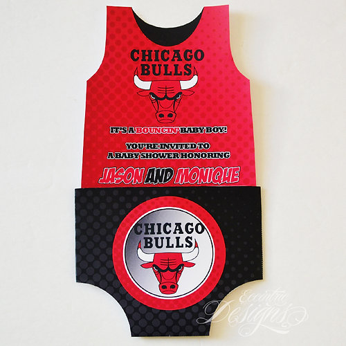 Eccentric designs custom stationery personalized gift items chicago bulls baby shower invitation negle Choice Image