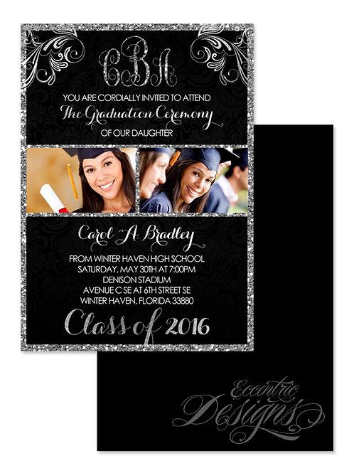 Glitter Monogram - Digital Graduation Invitation