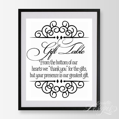 8X10 - Gift Table Wedding Sign