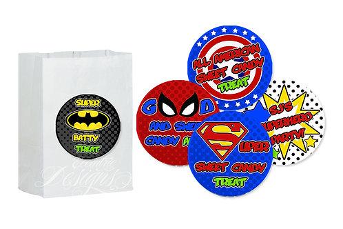 Superhero - Favor Bag Stickers