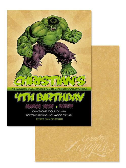 Incredible Hulk - Digital Birthday Invitation
