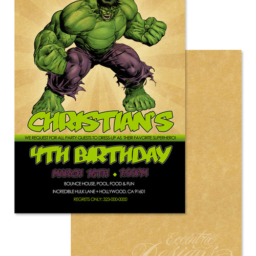 Eccentric Designs – Hulk Birthday Invitations