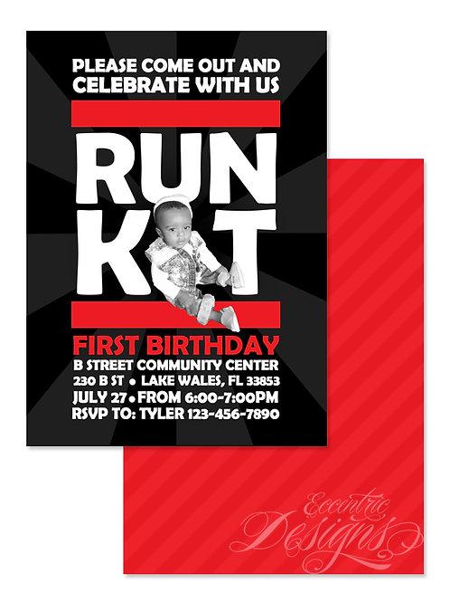 RUN DMC Inspired - Digital Birthday Invitation