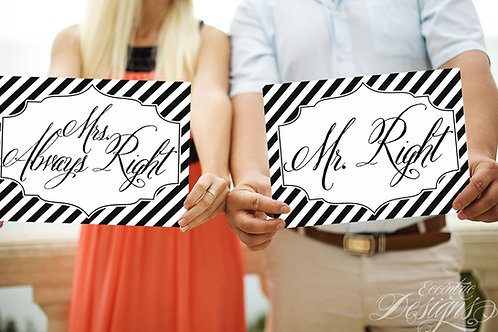 Mr and Mrs - Photography Prop / Signs