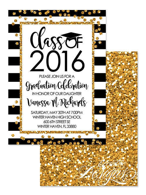 Faux Gold Glitter - Digital Graduation Invitation