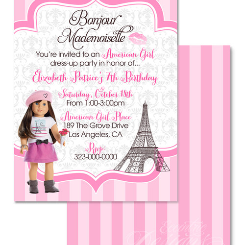 american girl birthday invitation - Girl Birthday Party Invitations