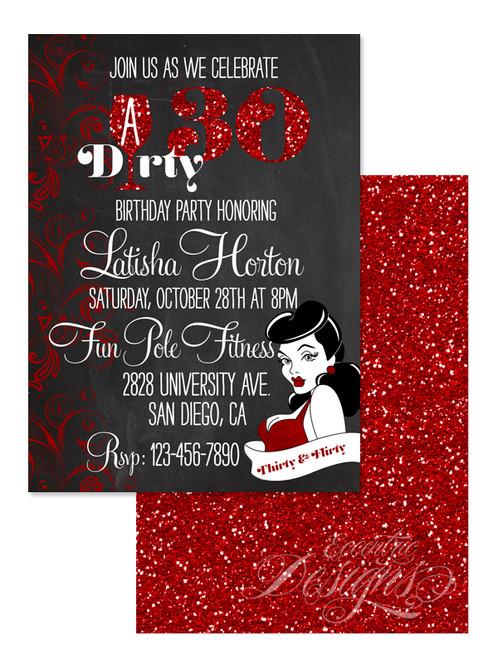 Dirty Thirty 30 Birthday Invitation