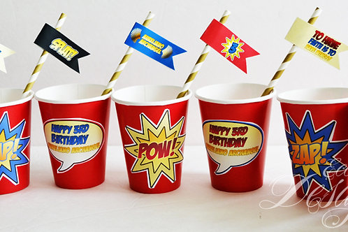 Superhero - Cup Stickers