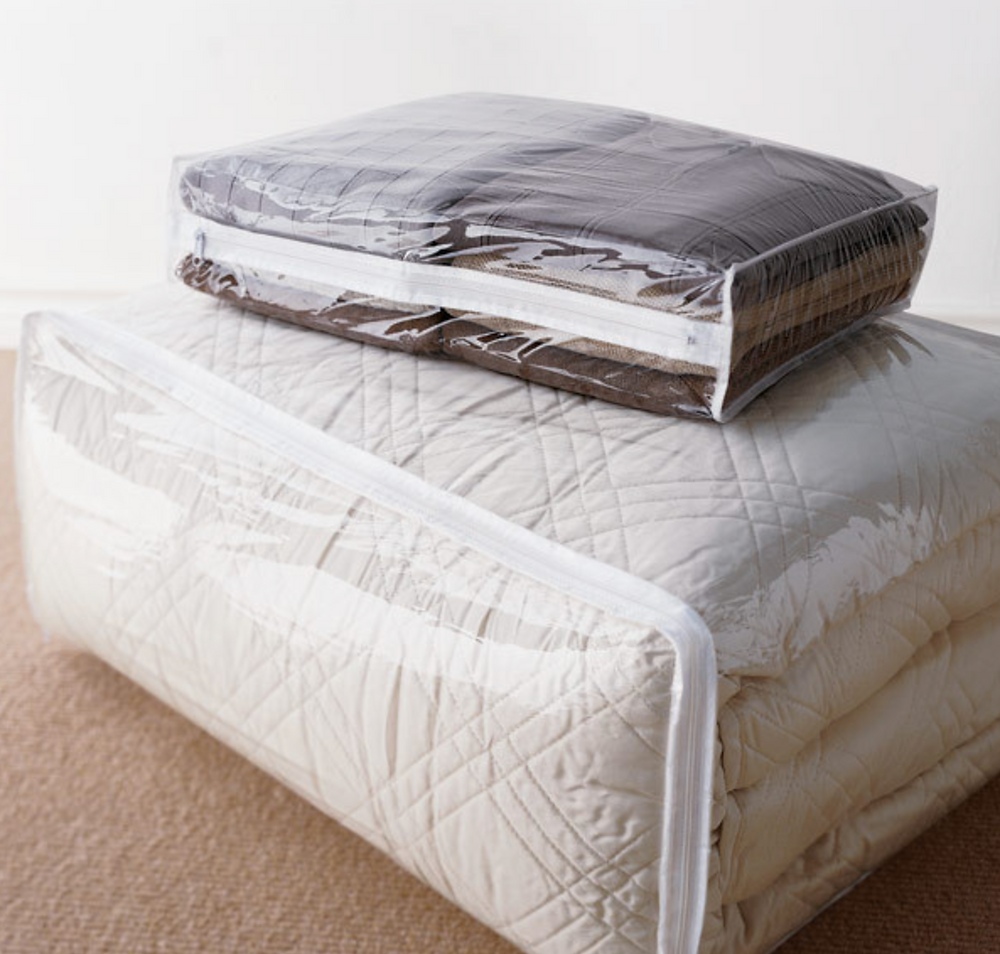 The Container store PEVA Blanket Bags recommended by NYC based professional organizer Wendy Silberstein