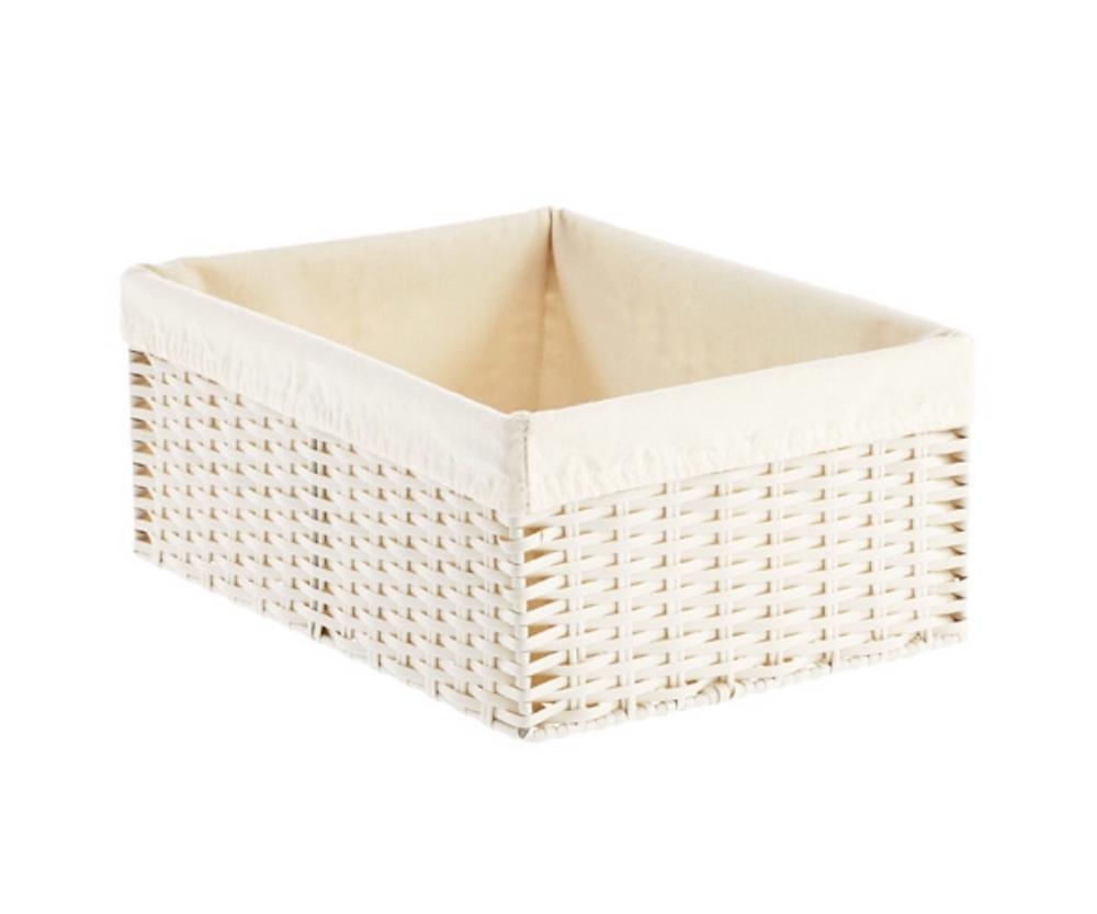 White Montauk Rectangular Basket for organization