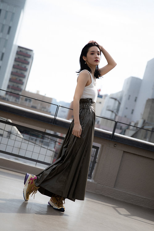 side belt long skirt