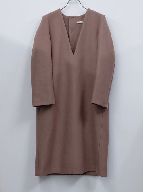 V neck wool coat dress