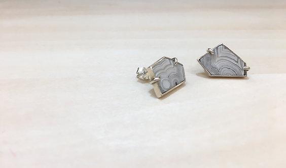 lace-agate polygon earrings