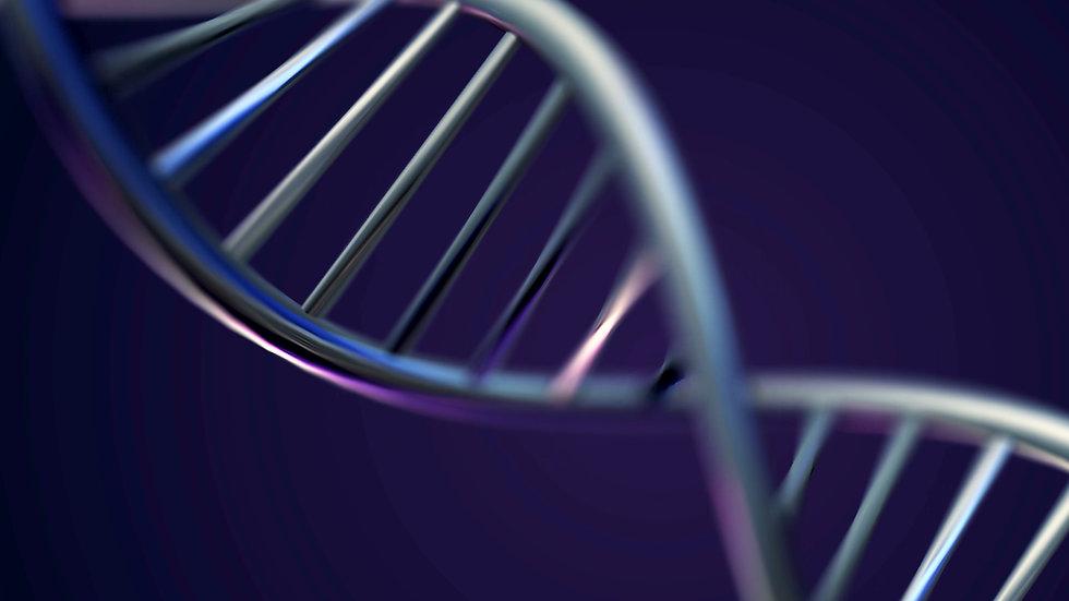 Futuristic Rotating White DNA Strand wit