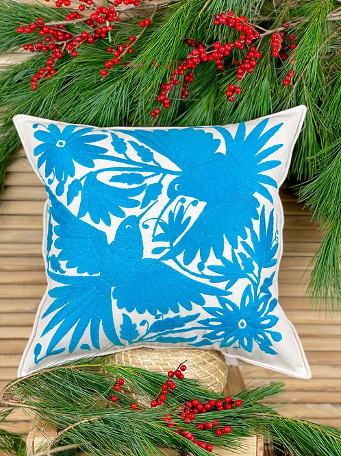Otomi cushion cover - Light blue