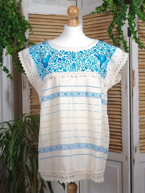 Paloma blouse beige with blue - L / XL