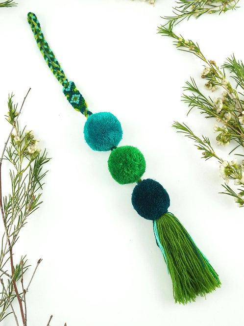 Green pompoms tassel