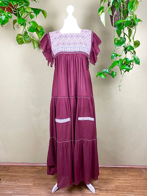 Maxi dress Andrea -  Red wine - One size fits all