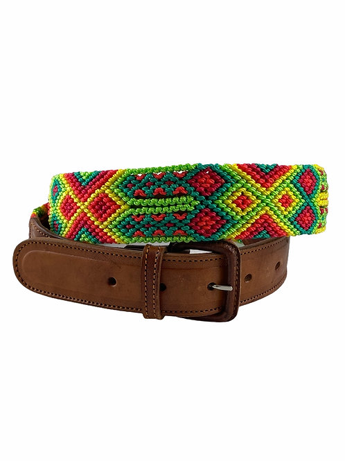 """Leather belts with woven macrame  Size L - XL / 40"""""""