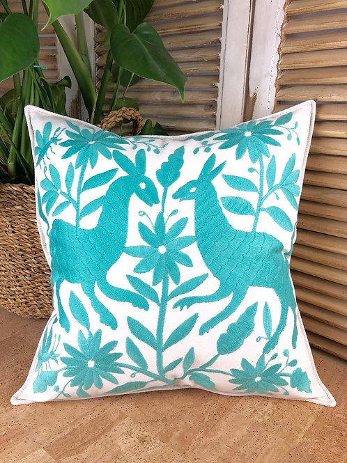 Otomi cushion cover - Turquoise