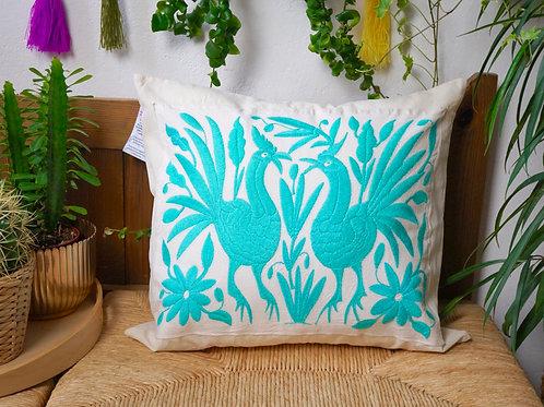 Teal Otomi pillow cover - Gallitos