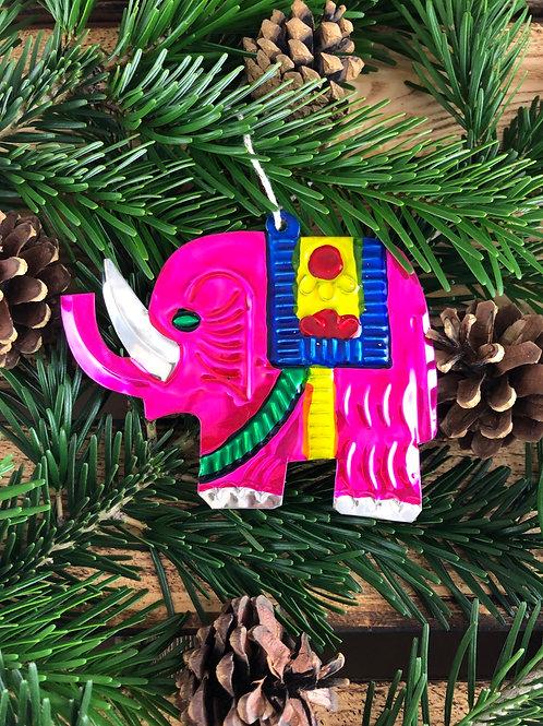 Pink Elephant - Christmas Tree Tin ornament