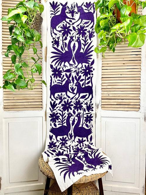 Otomi table runner - Deep purple
