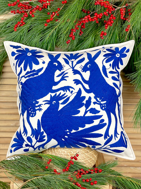 Otomi cushion cover - Royal blue
