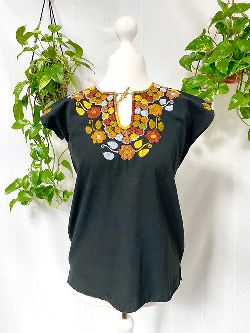 Dominga blouse - Black with earth tones