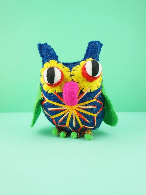 Handmade wool owls