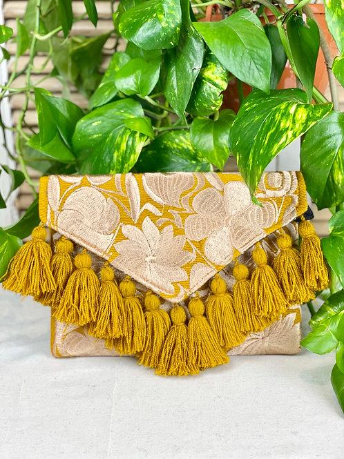 Las Flores clutch bag - Mostaza