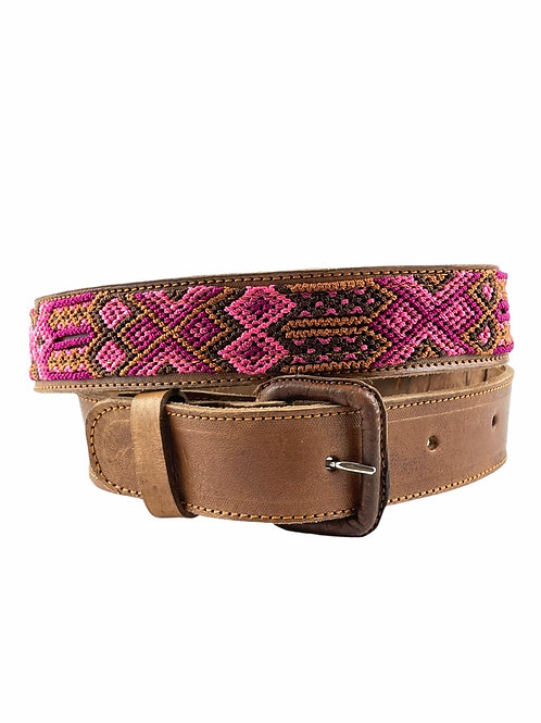 """Leather belt with woven macrame  Size S/M   32"""""""