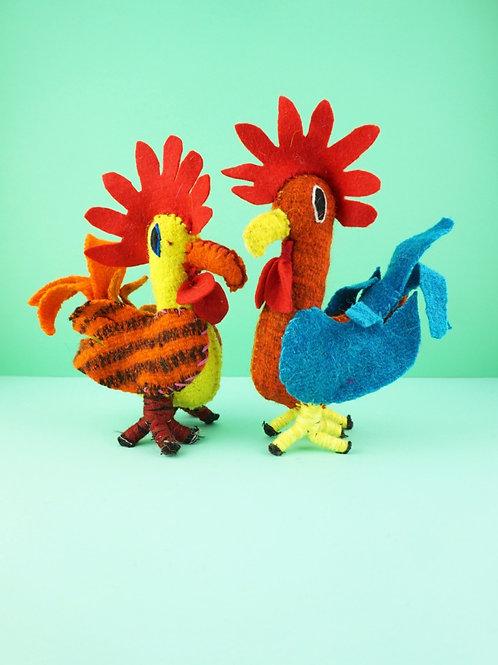 Handmade wool rooster