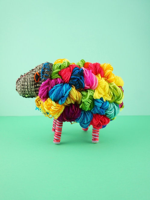 Handmade multicolor wool sheeps