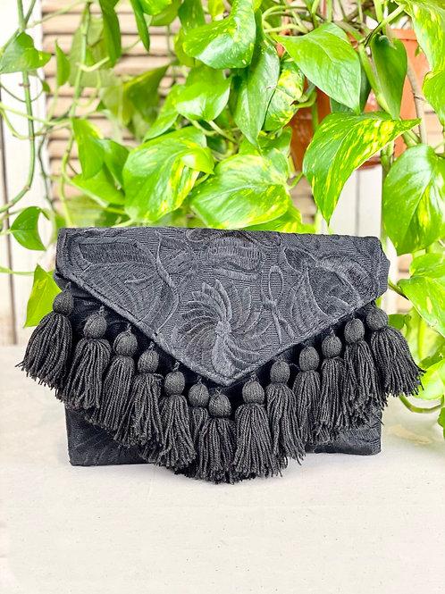 Las Flores clutch bag - Black on black