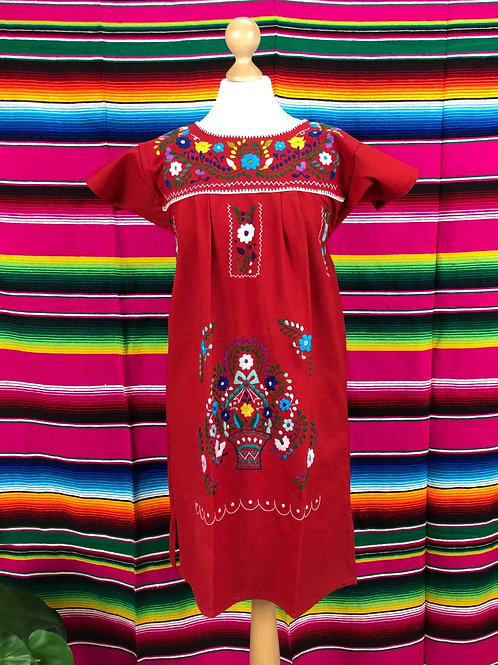 Red Puebla dress - Small