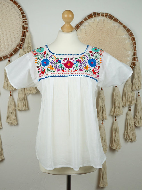 S-M Tehuacan blouse - White and multicolor