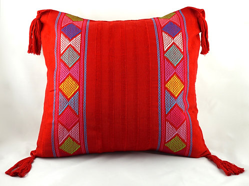 Zinacantan pillow cover with tassels - Various colours